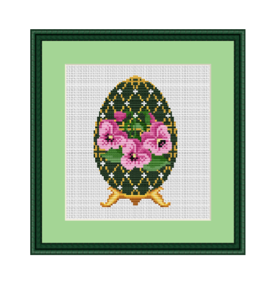 Faberge Egg With Viola. Happy Easter Pattern Cross Stitch.