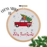 Feliz Navidad Christmas Car with Christmas Tree Cross Stitch Kit. Cross Stitch Kit Christmas