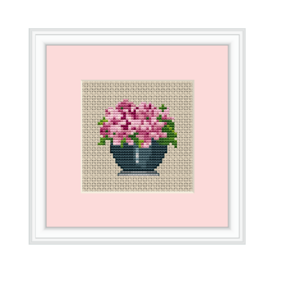 Violets Flowers Cross Stitch Pattern.