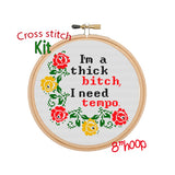 I'm Thick Bitch I Need Tempo. Lizzo Tempo Starter Cross Stitch Kit For Beginners. Lyrics Cross Stitch Kit. Wreath Cross Stitch