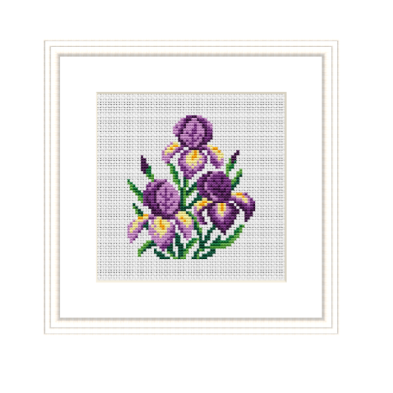 Instant Download Iris Cross Stitch Pattern.