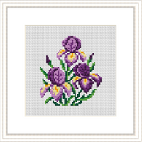 Iris Flowers Cross Stitch Kit.