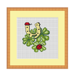 Lucky Clover with Ladybugs Cross Stitch Pattern