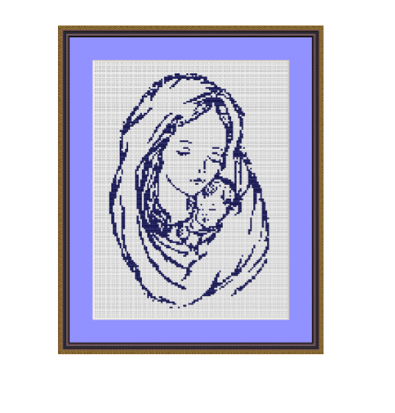 Madonna With Baby Cross Stitch Pattern