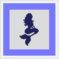 Mermaid Cross Stitch Kit. Modern Monochrome Cross Stitch Pattern.