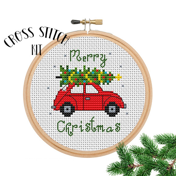 Merry Christmas Car with Christmas Tree Cross Stitch Kit.