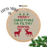 Merry Christmas Ya Filthy Animal Cross Stitch Kit