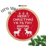 Merry Christmas Ya Filthy Animal Red Cross Stitch Kit