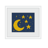The Moon And The Stars Cross Stitch Pattern. Cross Stitch PDF Pattern.