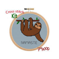 Namaste Cross Stitch Kit. Funny Sloth Cross Stitch Pattern.