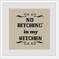 No Bitching' In My Kitchen Cross Stitch Kit. Funny Kitchen Decor Cross Stitch Kit.
