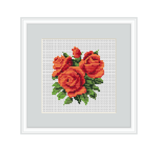 Orange Roses Counted Cross Stitch Pattern. Instant Download Cross Stitch Chart.