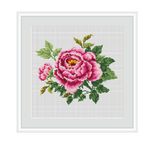 Pink Peonies Cross Stitch Pattern.
