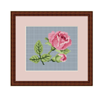 Pink Roses Counted Cross Stitch Pattern. Instant Download Cross Stitch Chart.
