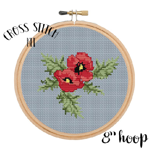 Poppy Seed Flower Cross Stitch Kit