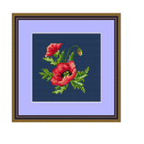 Poppy Seed Flower Cross Stitch Kit. Flowers Cross Stitch Kit.
