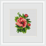 Hibiscus Embroidery Kit. Flowers Cross Stitch Kit.