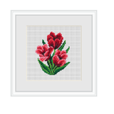 Instant Download Red Tulips Cross Stitch Pattern.
