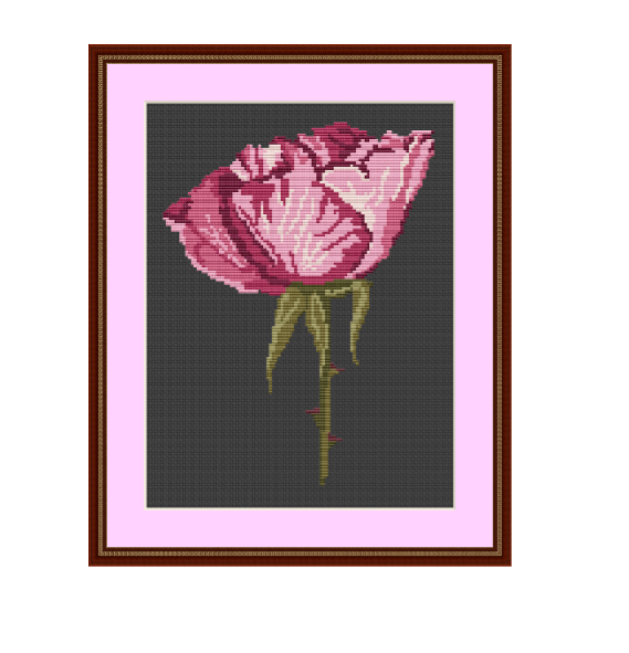 Instant Download Cross Stitch Chart. Rose Cross Stitch Pattern.