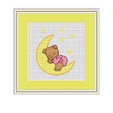 Sleeping Baby Bear Cross Stitch Pattern.