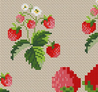 Strawberry Tablecloth Centerpiece Counted Cross Stitch Pattern.