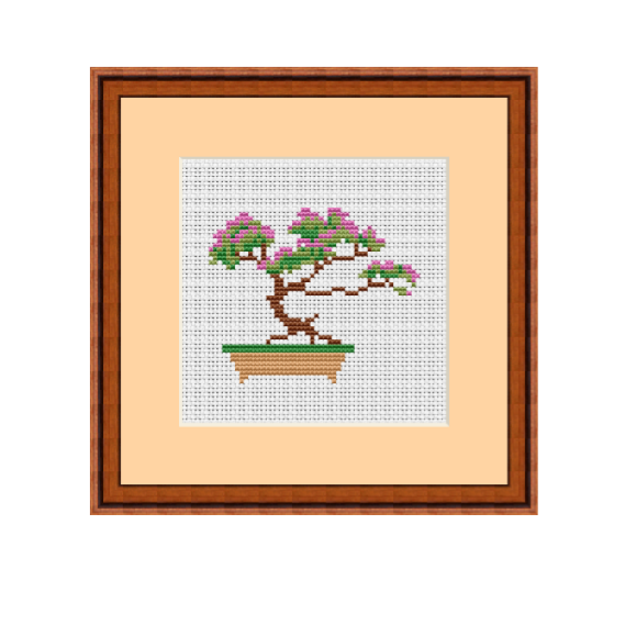 Bonsai Tree Cross Stitch Pattern.