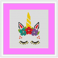 Unicorn Cross Stitch Kit. Modern Cross Stitch Pattern.