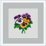 Violas Cross Stitch Kit. Viola Embroidery Kit.