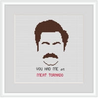 You Had Me At Meat Tornado. Ron Swanson Quotes Kit. Funny Saying Cross Stitch. Modern Cross Stitch.