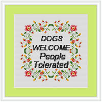 Dogs Welcome People Tolerated Cross Stitch Kit. Funny Saying Cross Stitch Kit. Modern Embroidery.