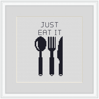Just Eat It Cross Stitch Kit. Funny Kitchen Decor Cross Stitch Kit.