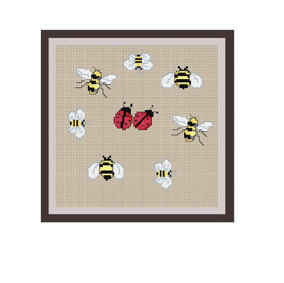 Ladybugs And Bees Cross Stitch Pattern.