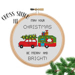May Your Christmas Be Merry and Bright. Merry Christmas Car with Trailer Cross Stitch Kit. Christmas Cross Stitch.