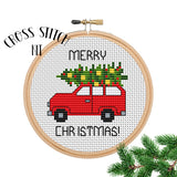 Cross Stitch Kit Christmas. Merry Christmas Car Cross Stitch.