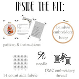 Funny Christmas Fox Embroidery Kit. Fox Cross Stitch Kit