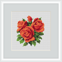 "Orange Roses 6"" Hoop Cross Stitch Kit."