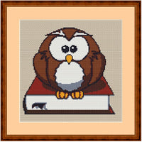 Smart Owl With The Book Cross Stitch Pattern. PDF. Instant Download.