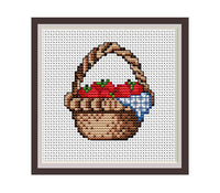 Strawberry Basket Counted Cross Stitch Pattern.