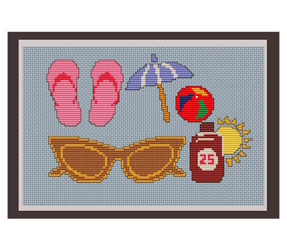 Summer Vacation Cross Stitch Pattern. PDF Pattern.