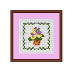 Napkin Cross Stitch Chart. Violets In The Pot Cross Stitch Pattern.