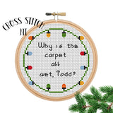 "Set Of 2 Cross Stitch Kits ""Why is the carpet all wet, Todd?"" and ""I don't know Margo!"""