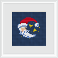 Winter Moon And Stars Cross Stitch Kit. Christmas Cross Stitch
