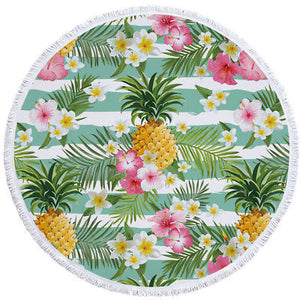 Clever Kittens Pineapple Print Round Beach Towel