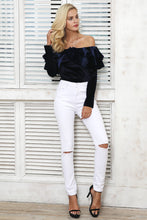 Clever Kittens Off The Shoulder Velvet Ruffle Bodysuit