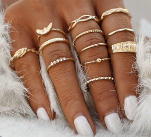 Twelve Piece Gold Midi Finger Ring Set