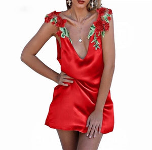 Clever Kittens Sexy Silk Grecian Sundress Red