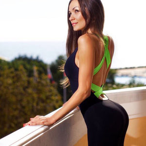 Clever Kittens Fitness Jumpsuit with neon crossback green and black