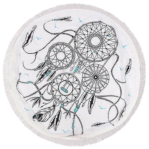 Clever Kittens Dreamcatcher Round Beach Towel with Fringes