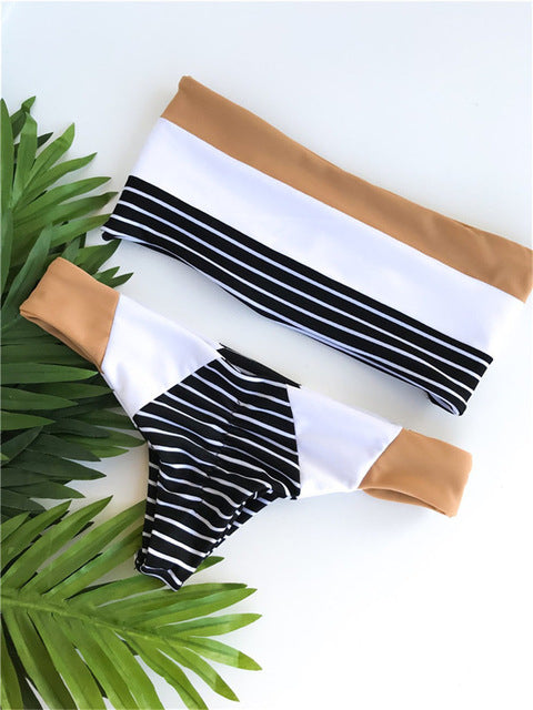 Sleek Bandeau Striped Bikini