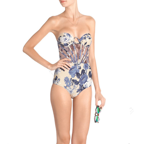 Floral Fraulein Swimsuit Blue - as seen in Vogue